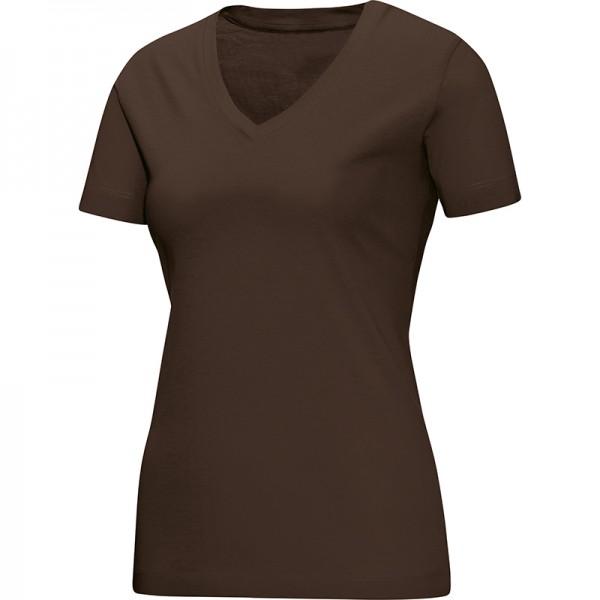 Jako T-Shirt V-Neck Damen coffee 6113-37